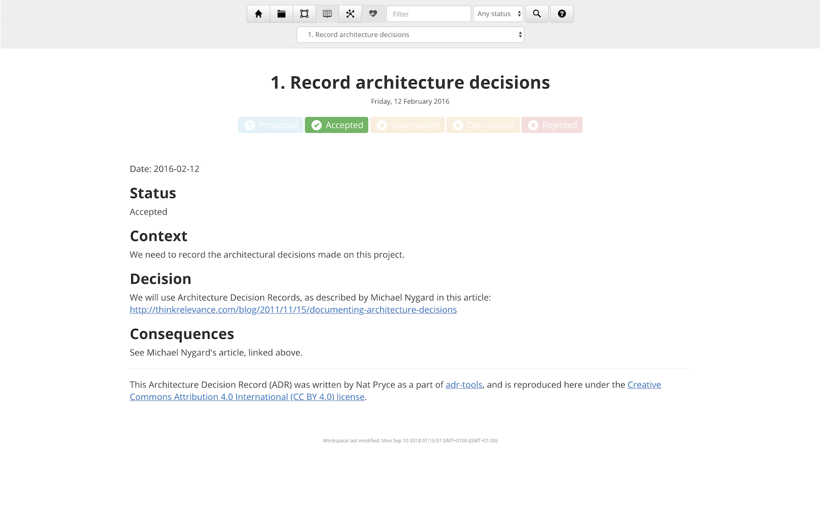 Structurizr architecture decision records screenshot